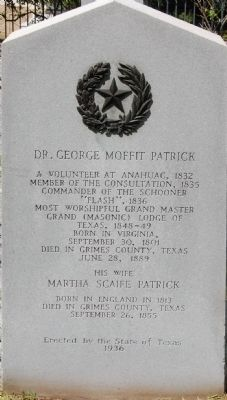 Dr. George Moffit Patrick Marker image. Click for full size.