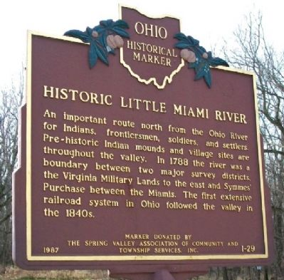 Historic Little Miami River Marker (Side A) image. Click for full size.