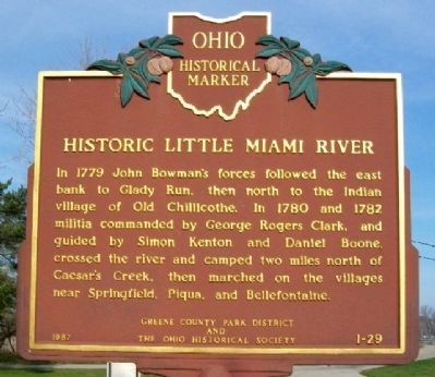 Historic Little Miami River Marker (Side B) image. Click for full size.