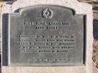 Fort Peña Colorado (Red Rock) Marker image. Click for full size.