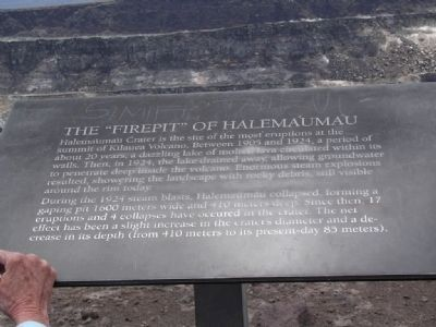 "The ""Firepit"" of Halema'uma'u Marker image. Click for full size."