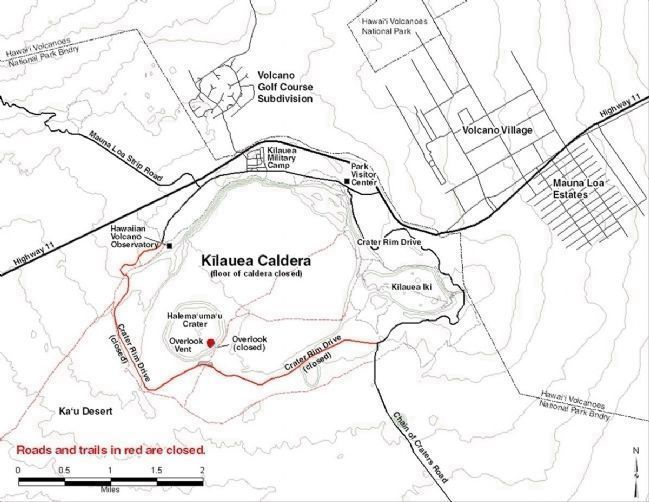 Kilauea Caldera Map image. Click for full size.