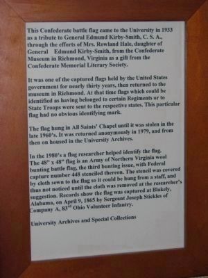 Informational page about the Confederate Battle Flag in the University of the South Library image. Click for full size.