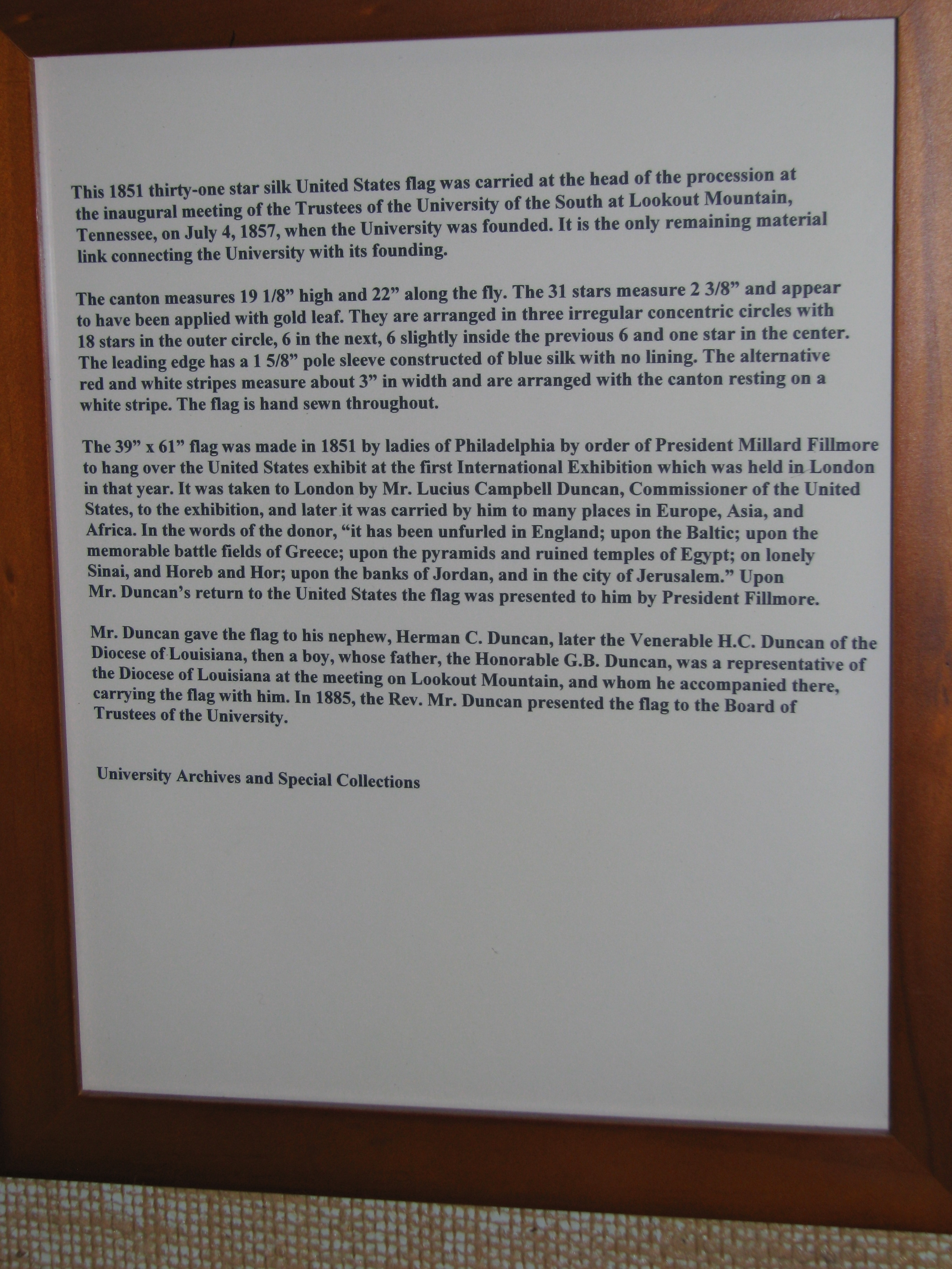 Informational page about the 1851 31 Star Flag in the University of the South Library