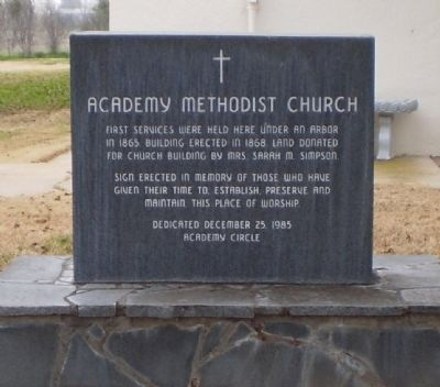 Academy Methodist Church Marker image. Click for full size.