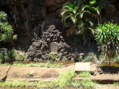 Menehune Ditch Marker - Wide View image. Click for full size.