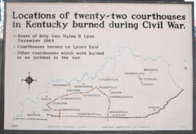Locations of twenty-two courthouses in Kentucky burned during Civil War image. Click for full size.