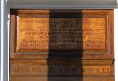 Milford Town Halls Marker image. Click for full size.