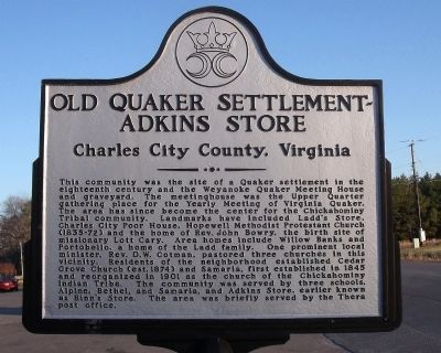 Old Quaker Settlement - Adkins Store Marker image. Click for full size.