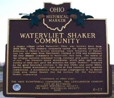 Watervliet Shaker Community Marker (Side A) image. Click for full size.