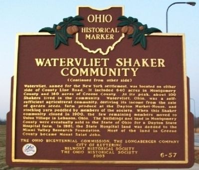 Watervliet Shaker Community Marker (Side B) image. Click for full size.