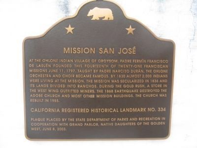 Mission San José Marker image. Click for full size.
