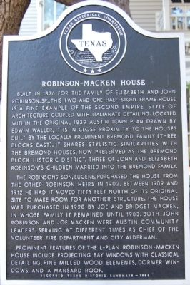 Robinson-Macken House Marker image. Click for full size.