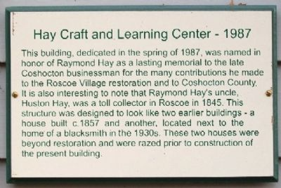 Hay Craft and Learning Center - 1987 Marker image. Click for full size.