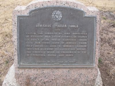 Burgess' Water Hole Marker image. Click for full size.