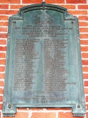 Adams County World War Memorial Marker image. Click for full size.