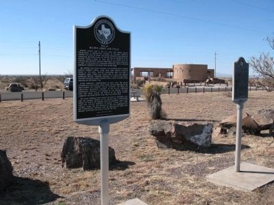 Marfa Lights marker (right) and Marfa Army Airfield marker (left) image. Click for full size.