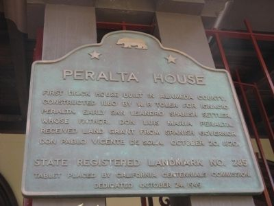 Peralta House Marker image. Click for full size.