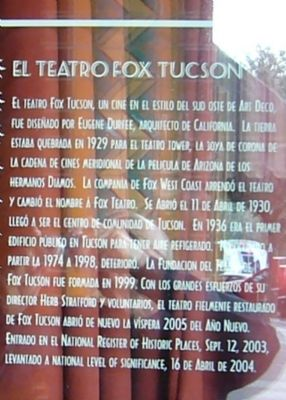 Fox Tucson Theatre Marker image. Click for full size.