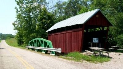 The Cox Covered Bridge and Marker image. Click for full size.