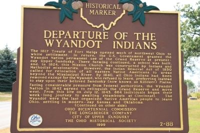 Departure of the Wyandot Indians Marker image. Click for full size.