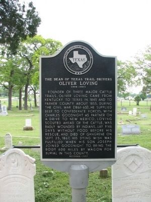 The Dean of Texas Trail Drivers Oliver Loving (1812 - 1867) Marker image. Click for full size.