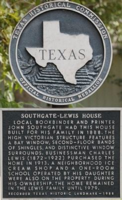 Southgate-Lewis House Marker image. Click for full size.