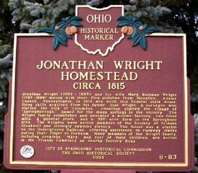 Jonathan Wright Homestead Marker image. Click for full size.