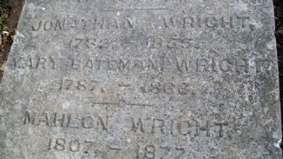 Jonathan and Mary Bateman Wright Grave Marker Detail image. Click for full size.