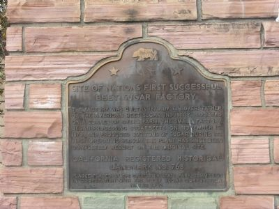 Site of the Nation's First Successful Beet Sugar Factory Marker image. Click for full size.