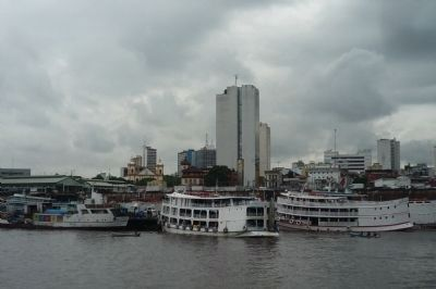Riverine passenger vessels at floating terminal in the Port of Manaus image. Click for full size.