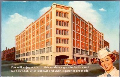 L&M, Chesterfield, and Lark cigarette factory image. Click for full size.
