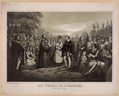 The wedding of Pocahontas with John Rolfe image. Click for full size.