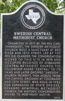 Swedish Central Methodist Church Marker image. Click for full size.