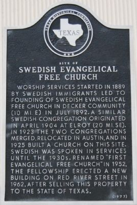 Site of Swedish Evangelical Free Church Marker image. Click for full size.