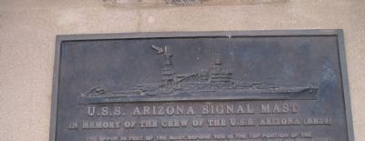 U.S.S. Arizona Signal Mast Marker Plaque - Close-up Relief Art image. Click for full size.