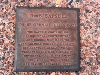 Arizona Capitol Concourse U.S.S. Arizona Memorial Time Capsule Marker image. Click for full size.