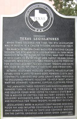 Confederate Texas Legislatures Marker image. Click for full size.