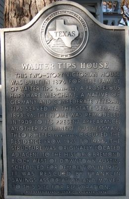 Walter Tips House Marker image. Click for full size.