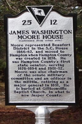 James Washington Moore House Marker, reverse side image. Click for full size.