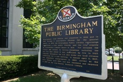 Side A The Birmingham Public Library Marker image. Click for full size.