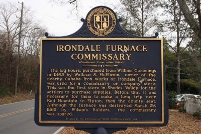 Side B: Oldest House In Shades Valley / Irondale Furnace Commissary Marker image. Click for full size.
