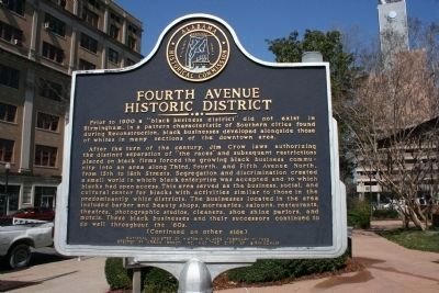 Side A: Fourth Avenue Historic District. Marker image. Click for full size.