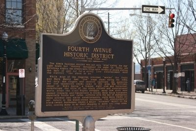 Side B: Fourth Avenue Historic District. Marker image. Click for full size.