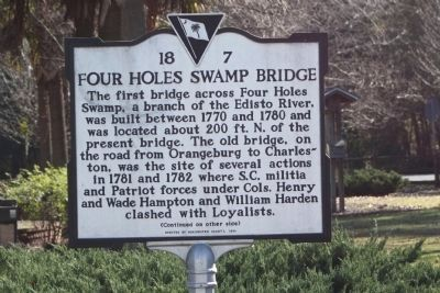 Four Holes Swamp Bridge Marker image. Click for full size.