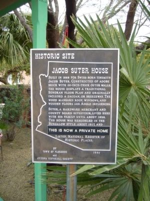 Jacob Suter House Marker image. Click for full size.