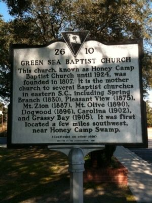 Green Sea Baptist Church Marker [front] image. Click for full size.