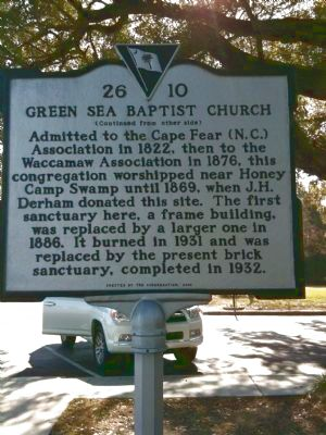 Green Sea Baptist Church Marker [reverse] image. Click for full size.