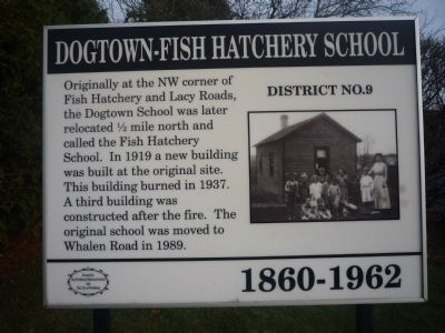 Dogtown – Fish Hatchery School Marker image. Click for full size.