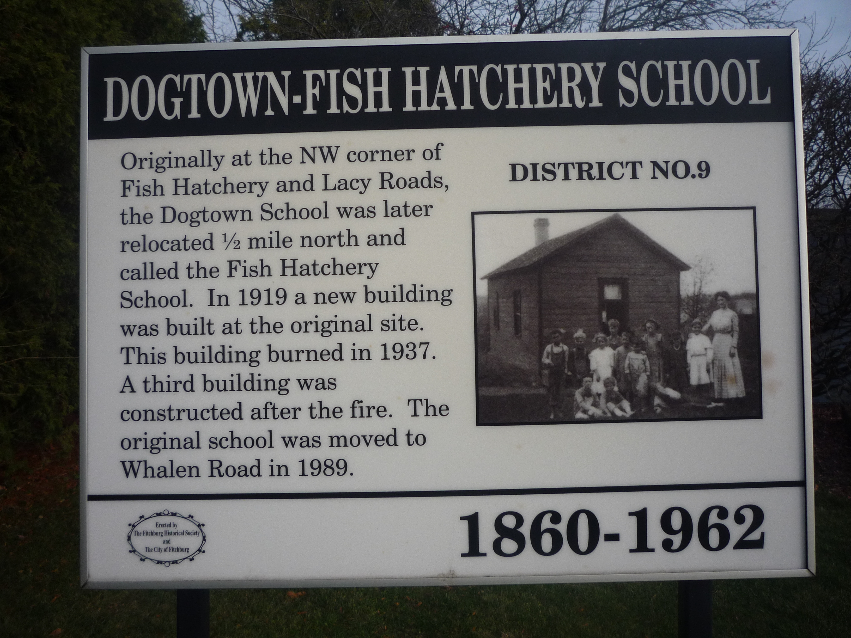 Dogtown – Fish Hatchery School Marker